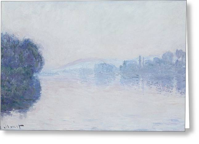 Water Effect Greeting Cards - The Seine near Vernon Greeting Card by Claude Monet