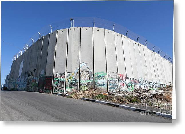 The Separation Wall In Bethlehem, Palestine Greeting Card by Roberto Morgenthaler