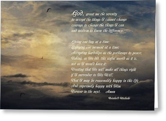 The Serenity Prayer - Clouds Greeting Card by HH Photography of Florida
