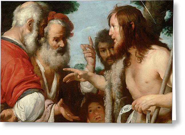 The Sermon Of St. John The Baptist Greeting Card by Bernardo Strozzi