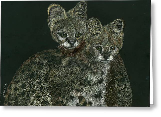The Serval Twins Greeting Card by Jessica Kale