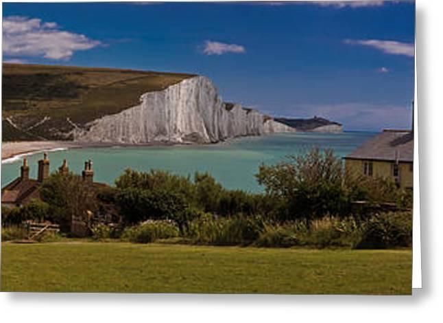 Coastguard Digital Greeting Cards - The Seven Sisters and the Coastguard Cottages Greeting Card by Chris Lord