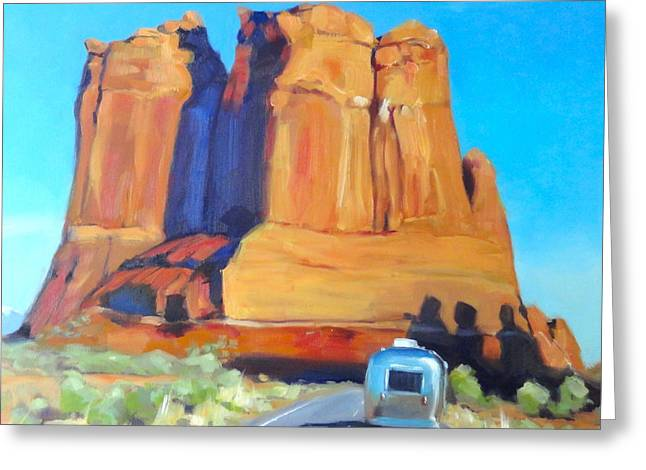 The Shadow Of The Three Gossips Arches Utah Greeting Card