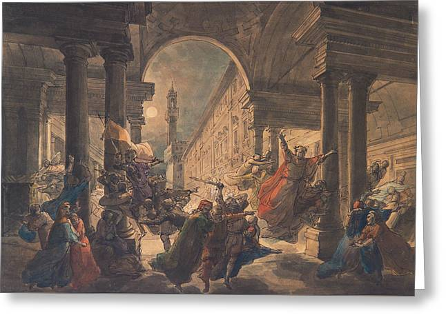 The Shadows Of The Great Florentine Men Protesting Against The Foreign Rule Greeting Card by Eugenio Agneni
