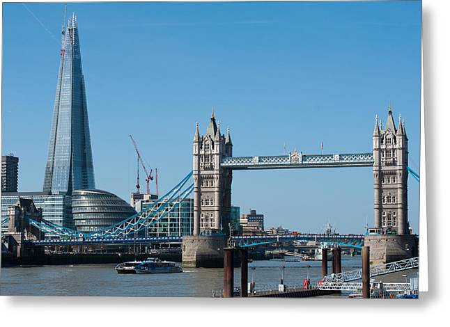 The Shard With Tower Bridge Greeting Card by Andrew  Michael