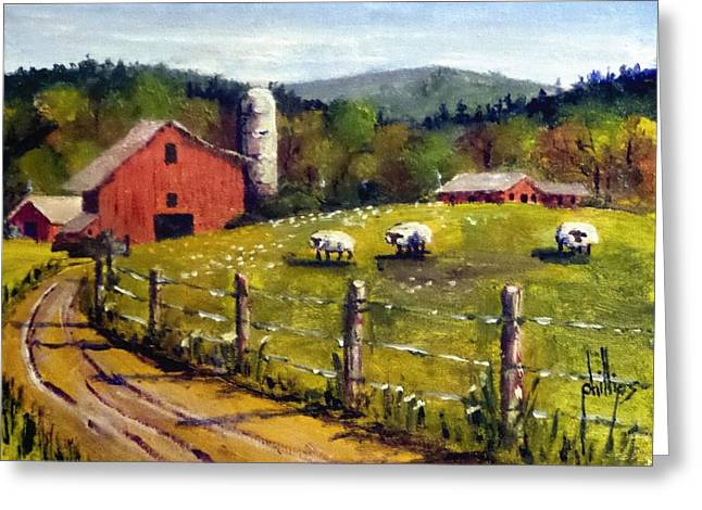The Sheep Farm Greeting Card by Jim Phillips