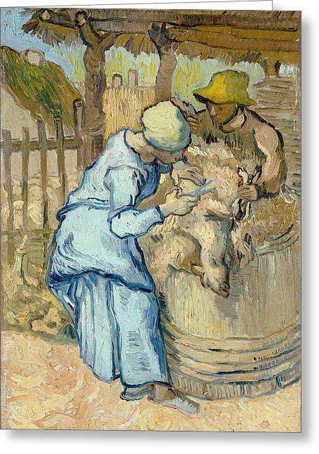 The Sheep-shearer, After Millet Greeting Card by Vincent Van Gogh