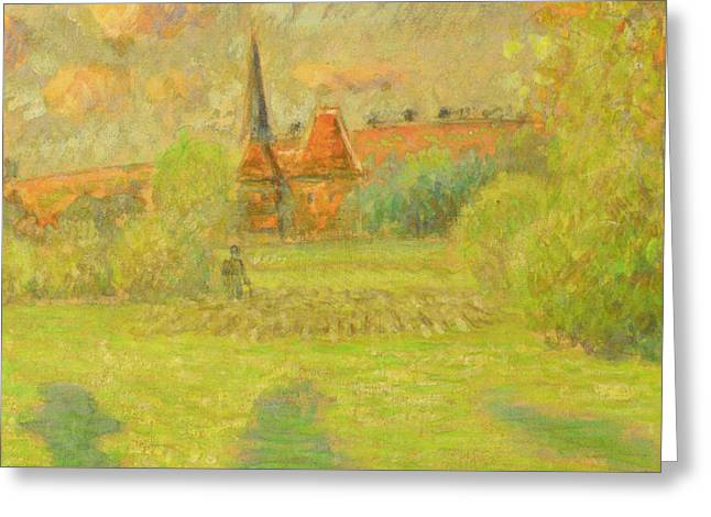 The Shepherd And The Church Of Eragny Greeting Card by Camille Pissarro