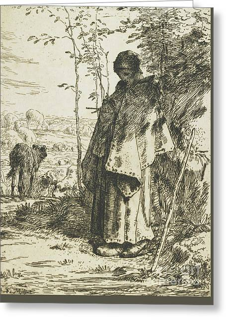 The Shepherdess Knitting, 1862 Greeting Card by Jean-Francois Millet