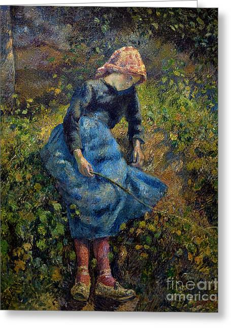 The Shepherdess, La Bergere, By Camille Pissarro, 1881, Musee D' Greeting Card by Peter Barritt