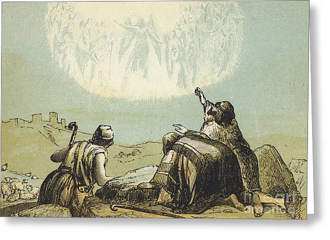 The Shepherds In The Field Greeting Card by English School