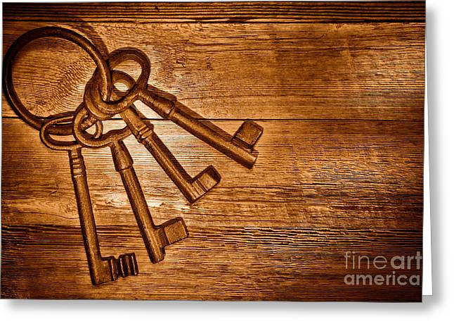 The Sheriff Jail Keys - Sepia Greeting Card by Olivier Le Queinec