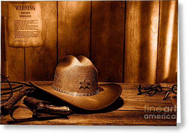 The Sheriff Office - Sepia Greeting Card by Olivier Le Queinec