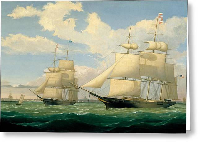 The Ships Winged Arrow And Southern Cross In Boston Harbor Greeting Card