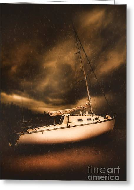 The Shipwreck And The Storm Greeting Card by Jorgo Photography - Wall Art Gallery