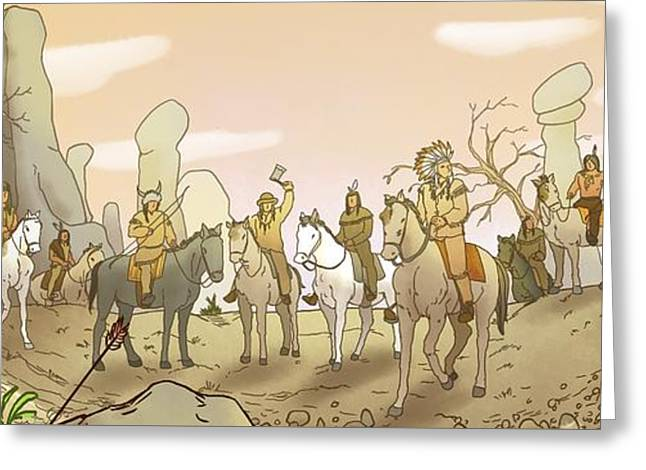 The Shoshone Hunting Party Greeting Card by Reynold Jay