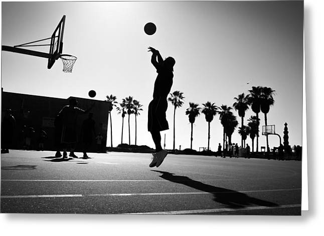The Shot - Los Angeles, United States - Black And White Street Photography Greeting Card