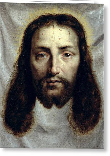The Shroud Of Saint Veronica Greeting Card by Philippe de Champaigne