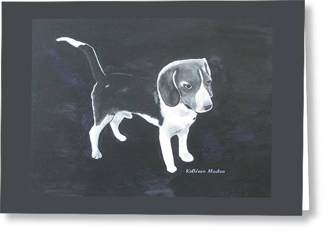 Greeting Card featuring the painting The Shy Beagle by KLM Kathel