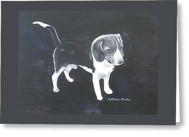 The Shy Beagle Greeting Card