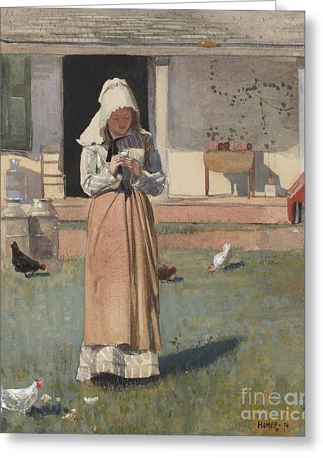 The Sick Chicken, 1874  Greeting Card by Winslow Homer
