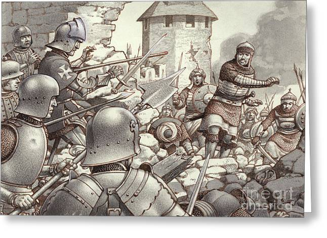 The Siege Of Rhodes Of 1522  Greeting Card by Pat Nicolle