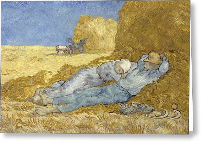 The Siesta, After Millet, 1890 Greeting Card by Vincent Van Gogh