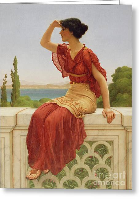 The Signal By John William Godward  Greeting Card by Esoterica Art Agency
