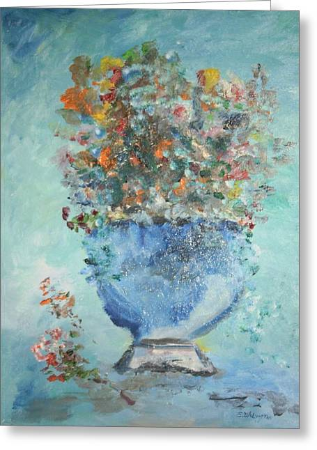 The Silver Bowl Vase Greeting Card by Edward Wolverton