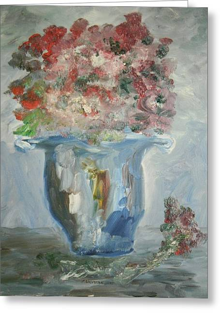 The Silver Swirl Vase Greeting Card by Edward Wolverton