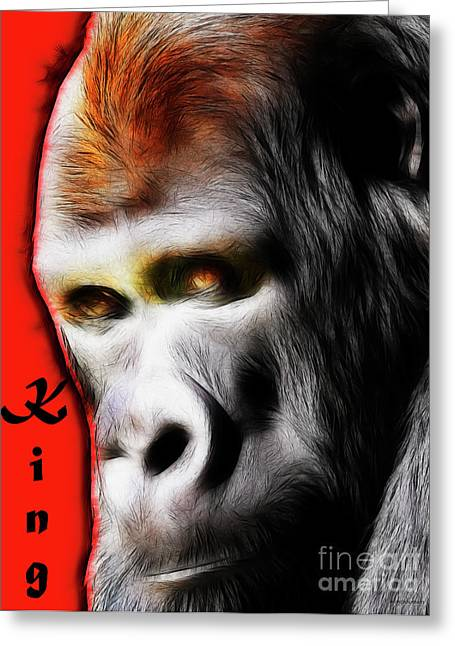 The Silverback Gorilla . King Of The Jungle Greeting Card by Wingsdomain Art and Photography