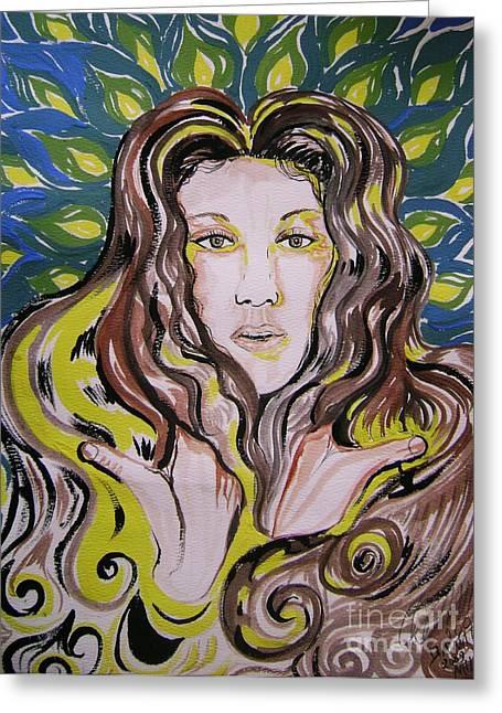 The Singer Of Paradise. Celine Dion Greeting Card by David Alvarado