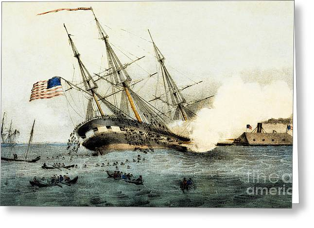 The Sinking Of The Cumberland By The Iron Clad Merrimac Greeting Card by American School