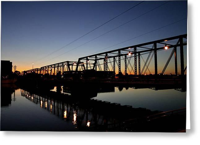 The Sixth Street Bridge At Sunset Greeting Card