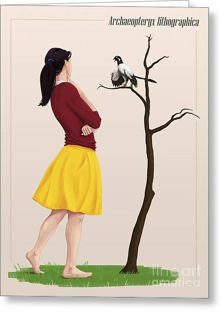 Full Skirt Greeting Cards - The Size Of An Archaeopteryx Perched Greeting Card by Christian Masnaghetti