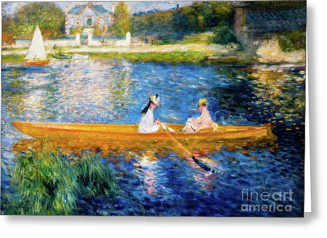Renoir Boating On The Seine Greeting Card