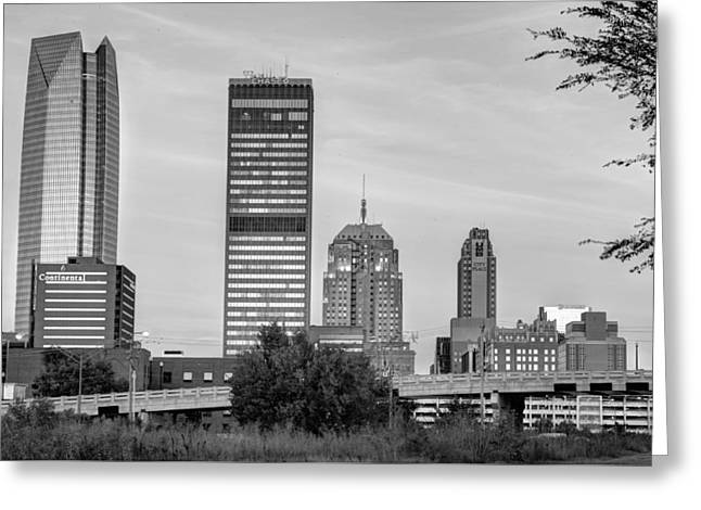 The Skyline Of Oklahoma City Bw Greeting Card