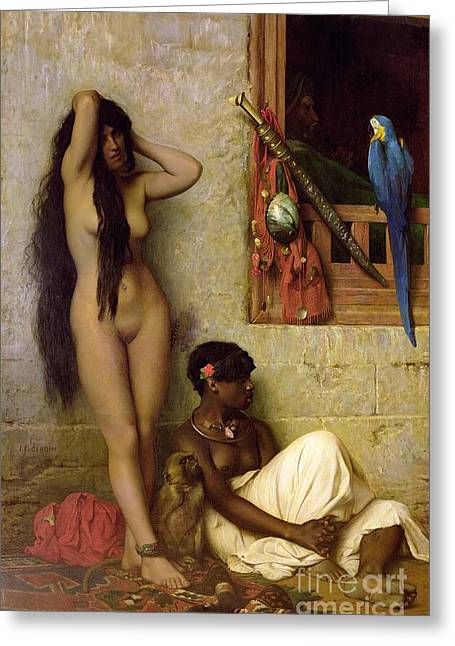 Jean Leon Gerome Greeting Cards - The Slave for Sale Greeting Card by Jean Leon Gerome