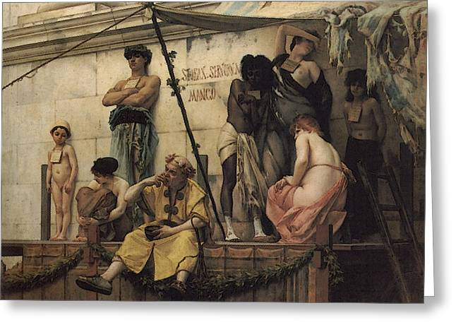 The Slave Market Greeting Card by Gustave Clarence Rodolphe Boulanger