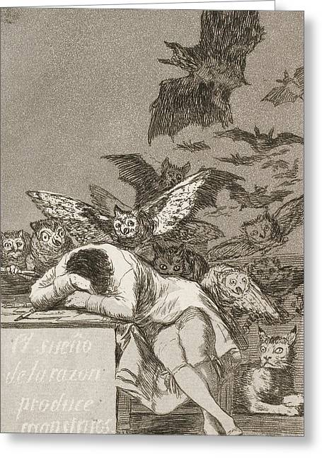 The Sleep Of Reason Produces Monsters Greeting Card by Francisco Goya