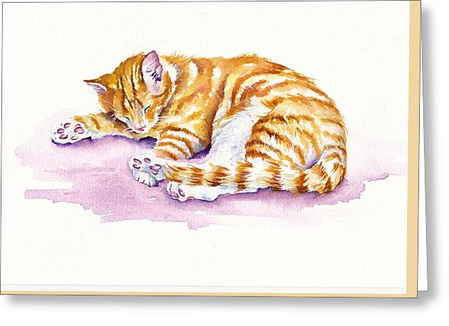 The Sleepy Kitten Greeting Card by Debra Hall