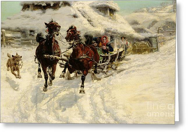 Winter Fun Paintings Greeting Cards - The Sleigh Ride Greeting Card by JFJ Vesin