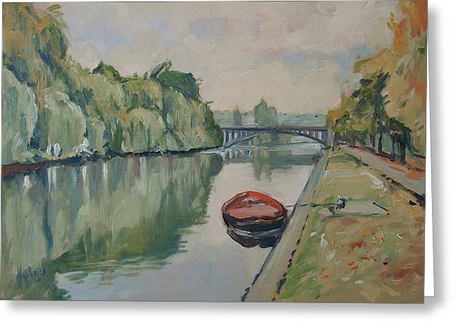 The Small Boat Along The Quai Of Halage Vise Greeting Card