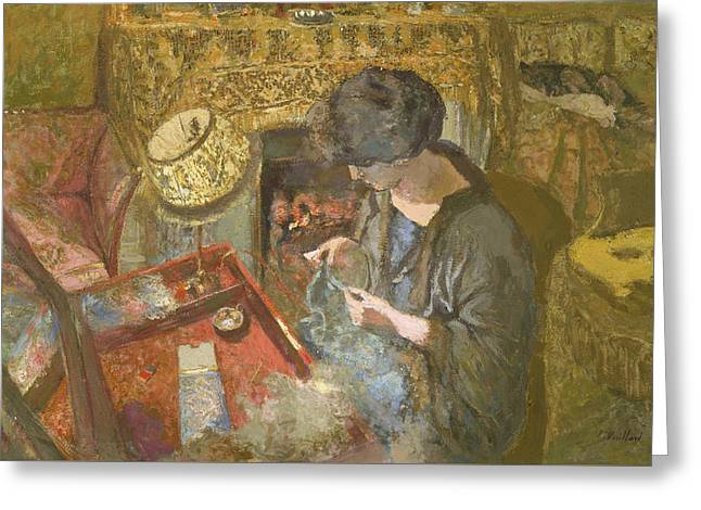 The Small Drawing-room - Mme Hessel At Her Sewing Table Greeting Card by Edouard Vuillard