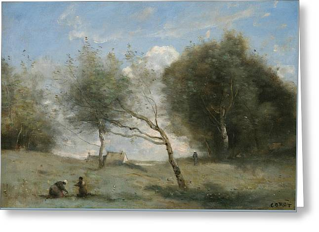 The Small Farm Meadows Greeting Card by Jean-Baptiste-Camille Corot