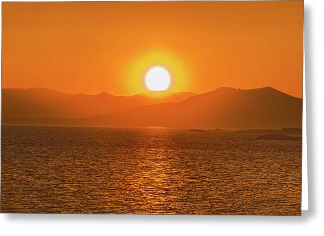 The Smoke From A Forest Fire Gave Us This Tangerine Sky Over 11-mile Reservoir State Park, Colorado. Greeting Card