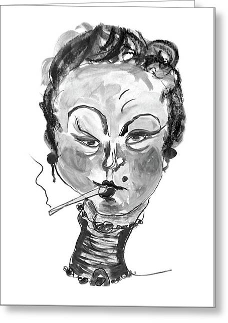 The Smoker - Black And White Greeting Card by Marian Voicu
