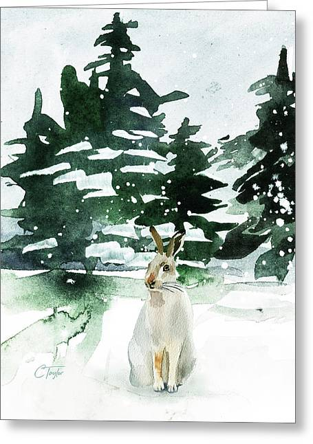 Greeting Card featuring the painting The Snow Bunny by Colleen Taylor