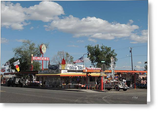 Rt. 66 Snow Cap Drive-in Greeting Card by Gordon Beck