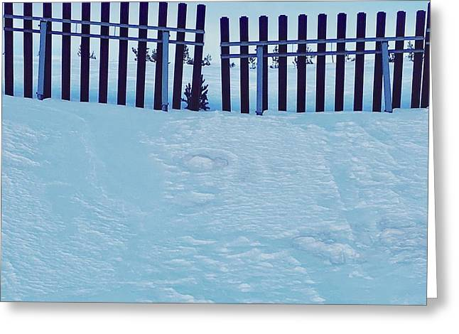 The Snow Fence Greeting Card by Contemporary Art